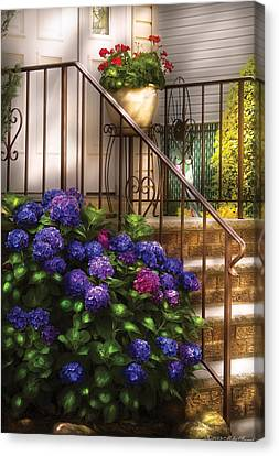 Flower - Hydrangea - Hydrangea And Geraniums  Canvas Print by Mike Savad