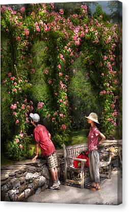 Flower - Rose - Smelling The Roses Canvas Print by Mike Savad