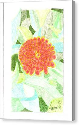 Canvas Print featuring the drawing Flower 1 - Orange Red Zinnia by Rod Ismay