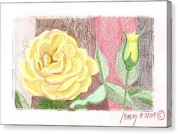 Canvas Print featuring the drawing Flower 4 - Yellow Rose And Bud by Rod Ismay