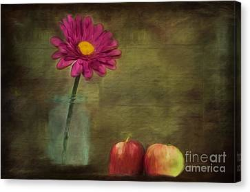 Kathy Rinker Canvas Print - Flower And Apples Still Life by Kathleen Rinker