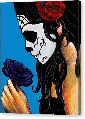 Flower And Skull Canvas Print