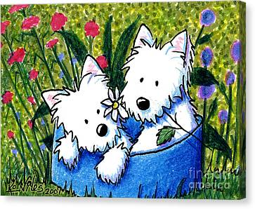 West Highland Canvas Print - Flower Bed Westies by Kim Niles