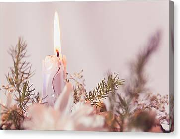 Flower Bouquet With Candle Canvas Print by Thubakabra