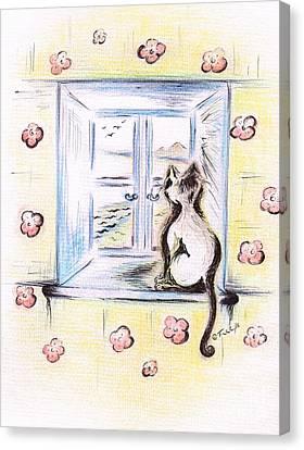 Flower - Cat  Canvas Print by Teresa White