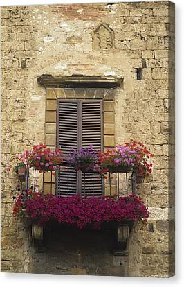 Flower Covered Balcony Canvas Print