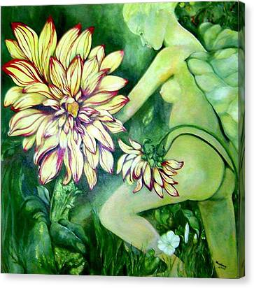 Canvas Print featuring the painting Flower Faery by Nadine Dennis