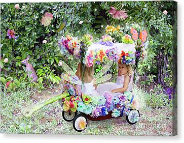 Flower Fairies In A Flower Mobile Canvas Print