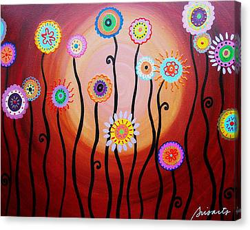 Canvas Print featuring the painting Flower Fest by Pristine Cartera Turkus