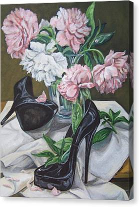 Canvas Print featuring the painting Flower Fetish by Laura Aceto