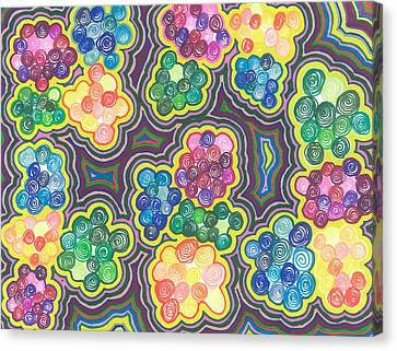 Canvas Print featuring the drawing Flower Frenzy by Jill Lenzmeier