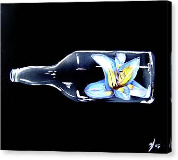 Canvas Print featuring the painting Flower In A Bottle by Michael McKenzie