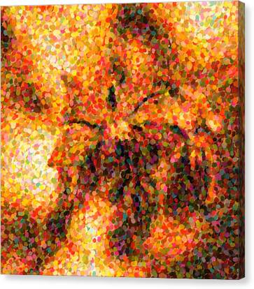 Flower In Pointilism Canvas Print by Tommytechno Sweden
