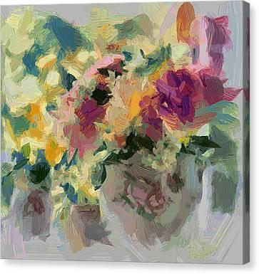 Interior Still Life Canvas Print - Flower Jar 01 by Yury Malkov