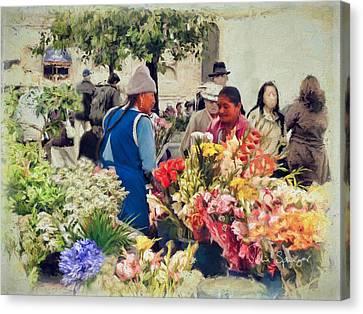 Flower Market - Cuenca - Ecuador Canvas Print