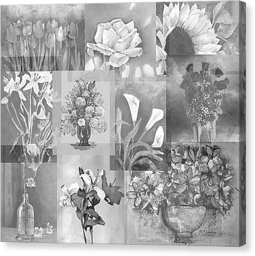 Flower Montage In Shades Of Gray Canvas Print by Arline Wagner