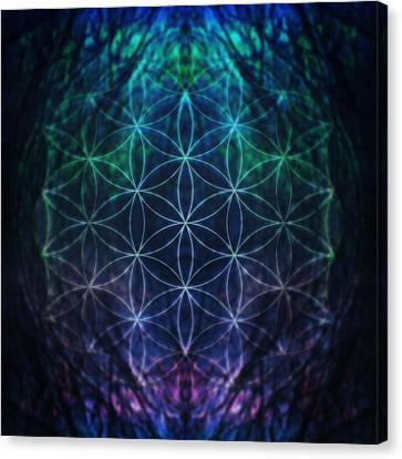 Flower Of Life Neon Canvas Print by Edouard Coleman