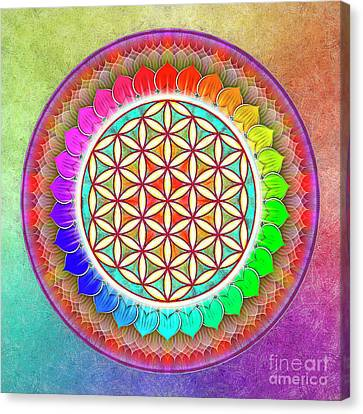 Flower Of Live - Rainbow Lotus 1 Canvas Print