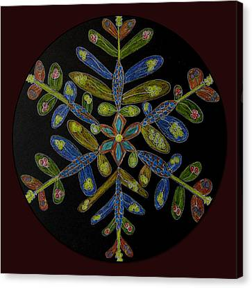Canvas Print featuring the drawing Flower Of Many Colors by Patricia Januszkiewicz