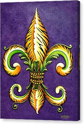 Lsu Canvas Print - Flower Of New Orleans Lsu by Judy Merrell