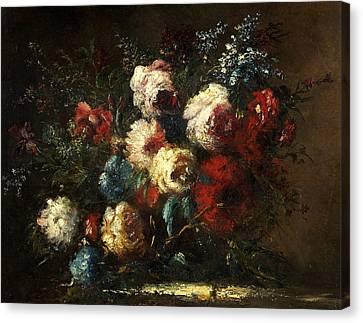 Flower Piece Canvas Print by Narcisse Virgile Diaz de la Pena