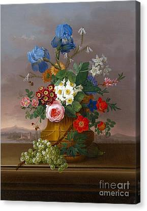 Flower Piece With Grapes Set Against A Landscape Canvas Print