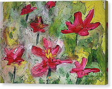 Canvas Print featuring the painting Flower Play by Terri Thompson