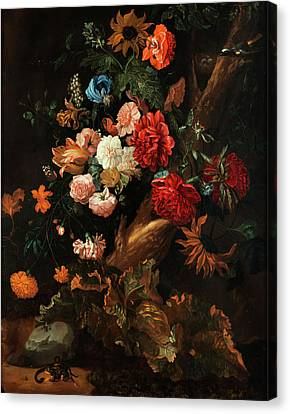 Glass Of Wine Canvas Print - Flower Plot With Gelbbauchunke And Snake by Ernst Stuven