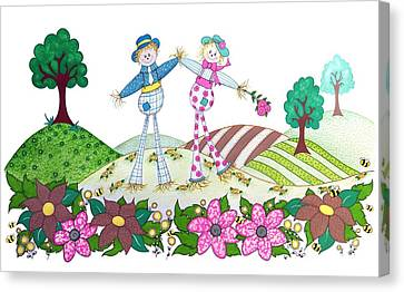 Flower Power Scarecrows Canvas Print by Sandra Moore