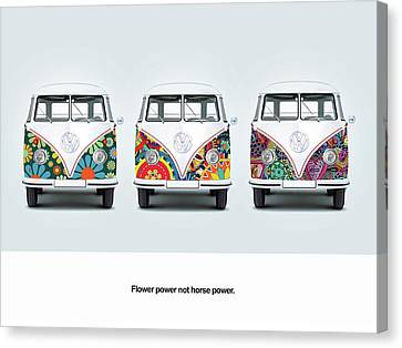 Flower Power Vw Canvas Print