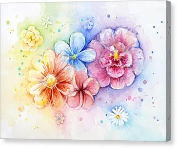 Flower Power Watercolor Canvas Print by Olga Shvartsur