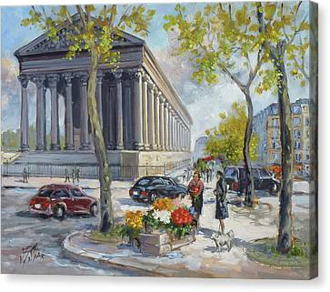 Canvas Print - Flower Seller At La Madelaine, Paris by Irek Szelag