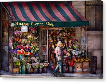Flower Shop - Ny - Chelsea - Hudson Flower Shop  Canvas Print by Mike Savad