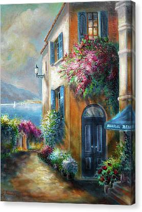 Scenes Of Italy Canvas Print - Flower Shop By The Sea by Regina Femrite