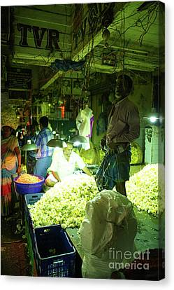 Canvas Print featuring the photograph Flower Stalls Market Chennai India by Mike Reid