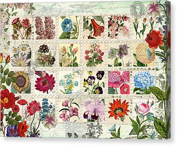 Postcards Canvas Print - Flower Stamps by Aimee Stewart