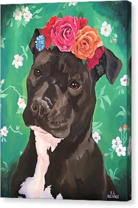 Flower The Pitbull Canvas Print by Elisa Bolanos