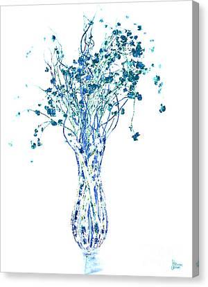 Flower Vase In Blue Canvas Print by Jeff Breiman