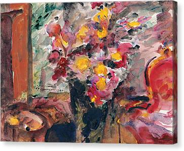 Flower Vase On A Table 1922  Canvas Print by Lovis Corinth