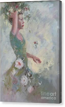 Flower Vender Canvas Print by Gertrude Palmer