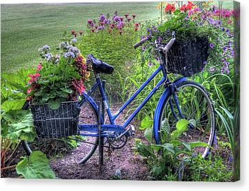 Flowered Bicycle Canvas Print