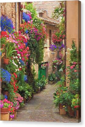 Flower Alley Italy Canvas Print by Impressionist Art