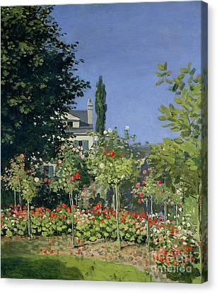 Flowering Garden At Sainte-adresse Canvas Print by Claude Monet