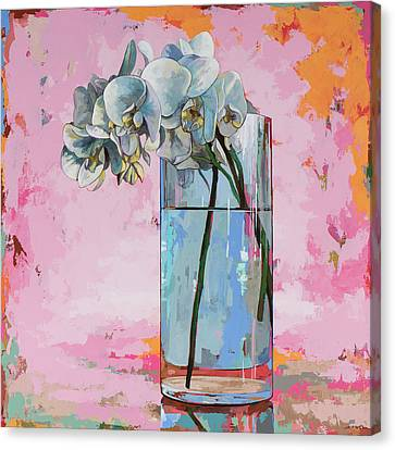 Canvas Print featuring the painting Flowers #17 by David Palmer