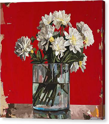 Canvas Print featuring the painting Flowers #4 by David Palmer