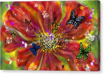 Wildlife Celebration Canvas Print - Flowers And Butterflies by Darren Cannell