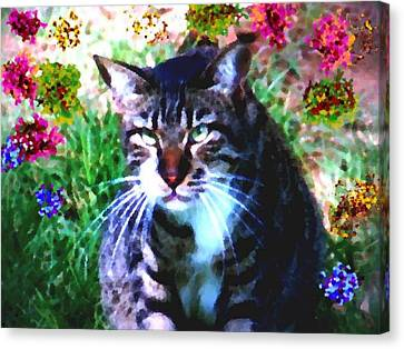Canvas Print featuring the digital art Flowers And Cat by Dr Loifer Vladimir