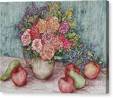 Flowers And Fruit Arrangement Canvas Print by Kim Tran