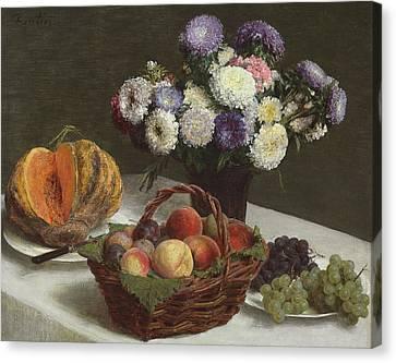 Flowers And Fruits Canvas Print by Ignace Henri Jean Fantin-Latour