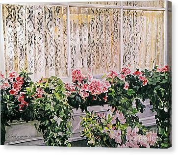Flower Boxes Canvas Print - Flowers And Lace by David Lloyd Glover